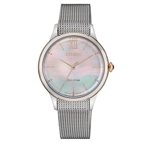 CITIZEN星辰 白蝶貝米蘭帶光動能腕錶EM0816-88Y