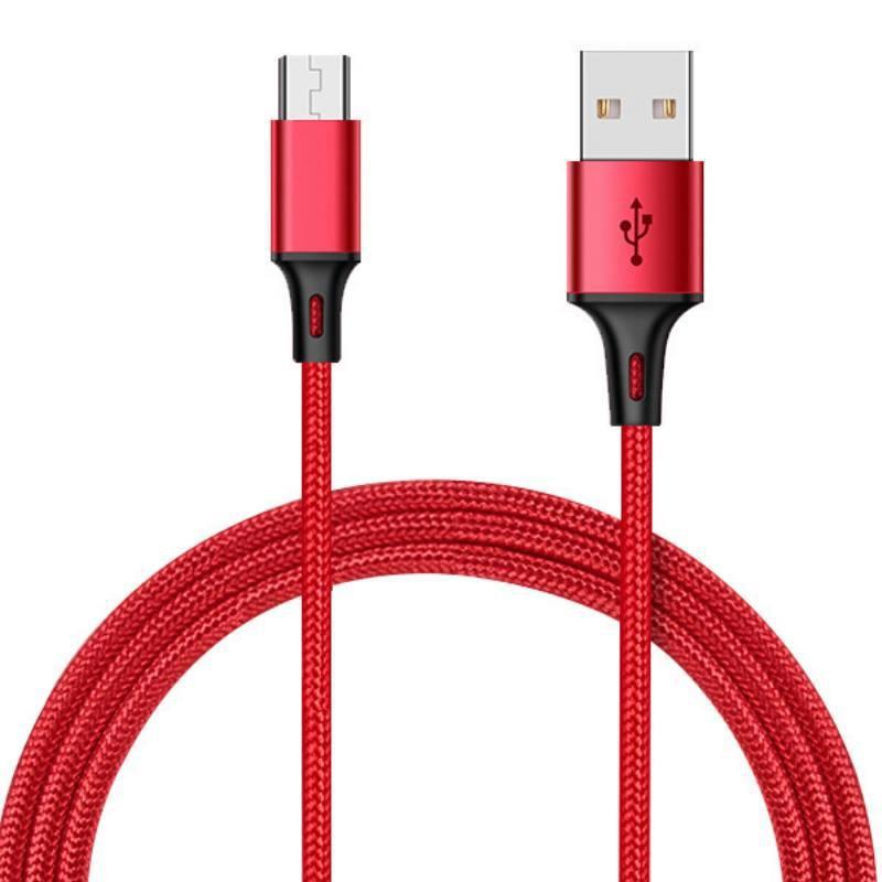 尼龍編織充電線1米3A Micro手機充電線 傳輸線 快充線 USB充電線【DC234】