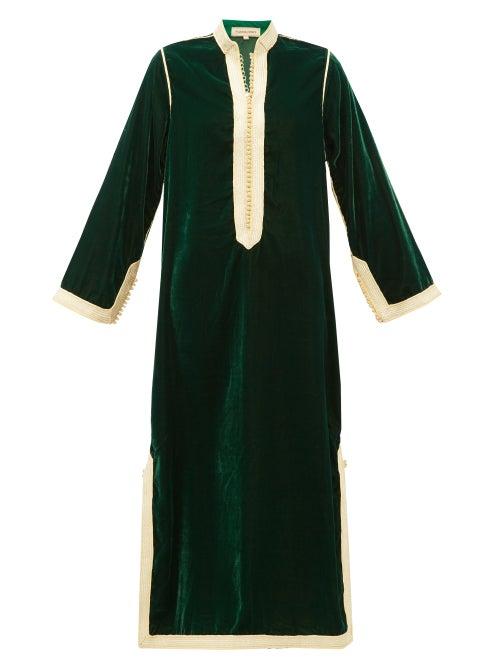 Muzungu Sisters - Alia Woven-trim Velvet Tunic Dress - Womens - Green Multi