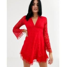 ラブトライアングル Love Triangle レディース ワンピース スケータードレス ワンピース・ドレス plunge front lace skater dress in red