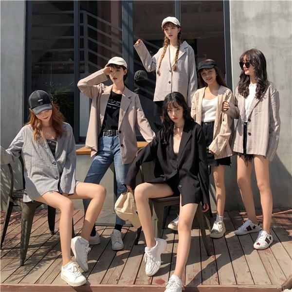 [現貨]西裝外套上衣 原宿風氣質學生複古韓版百搭寬鬆休閒潮流淑女格子長袖免運