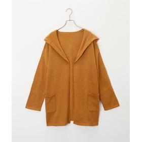 ゆったりシルエット 洗える フード付ニットカーディガン (カーディガン)(レディース)Cardigan, 襟衫, 開襟衫