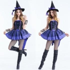 新作 レディース ハロウィン 衣装 レース ワンピース 帽子付き 魔女 デビル 二次元衣装 女性 少女 ショートスカート ダンス衣装