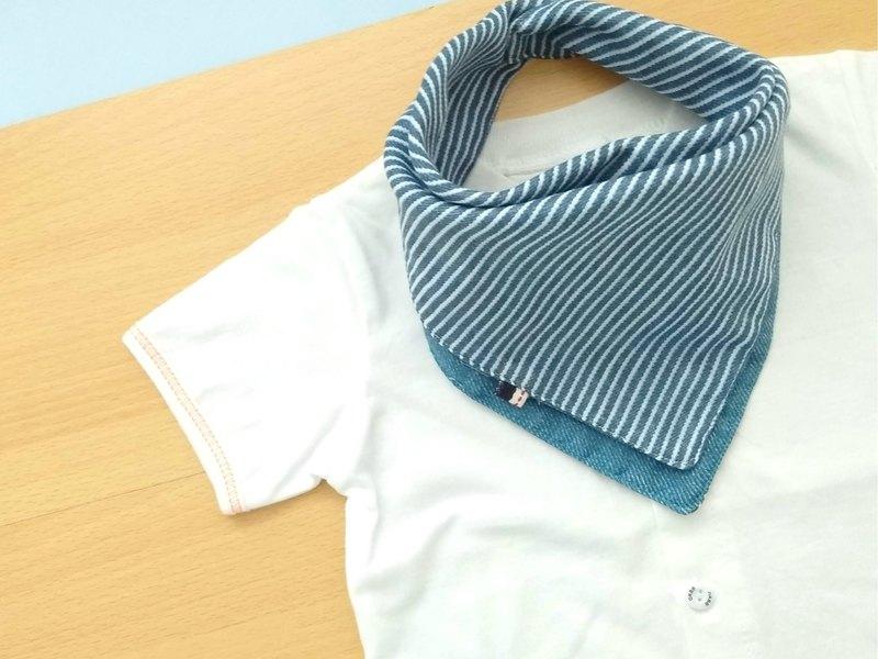 嬰兒圍兜,可逆頭巾圍兜,日本雙層紗布棉,藍色牛仔布
