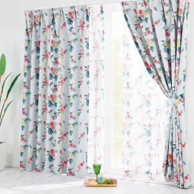 ベルーナインテリア ボタニカル柄遮光カーテン&見えにくいレースカーテンセット 1 約幅100×丈90cm(各2枚)
