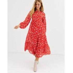 エイソス ASOS DESIGN レディース ワンピース ティアードドレス ワンピース・ドレス tiered long sleeve smock maxi dress in floral pri