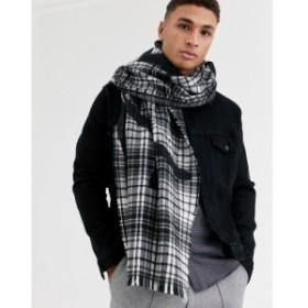 リバーアイランド River Island メンズ マフラー・スカーフ・ストール check blanket scarf with prolific print in grey グレー