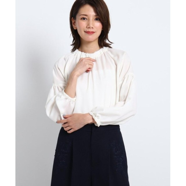 スーナウーナ ギャザーネックマットサテンブラウス レディース オフホワイト(003) 38(M) 【SunaUna】