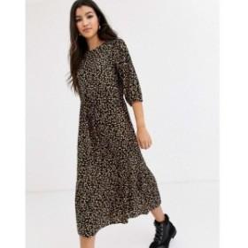 ノーバディーズ チャイルド Nobodys Child レディース ワンピース volume sleeve midi dress with tiered skirt in scattered spot
