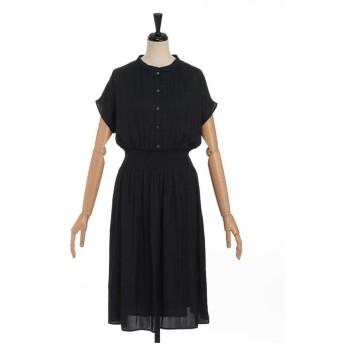LESTERA ウエストシャーリングゴムドレス ワンピース,ネイビー