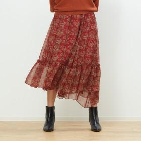 Rouge vif(ルージュ・ヴィフ)/フラワープリントラッフルスカート