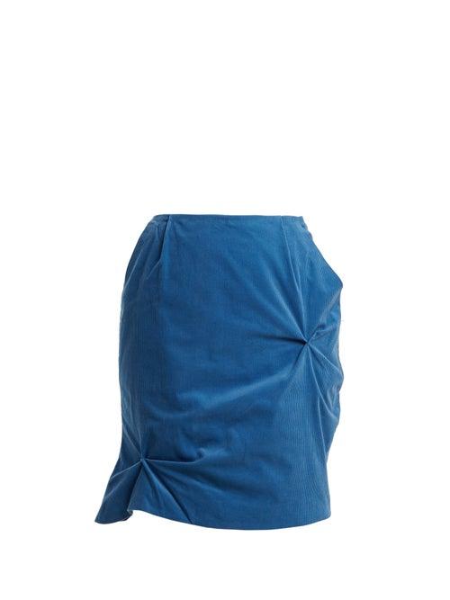 Charles Jeffrey Loverboy - Twist-stitch Cotton-corduroy Mini Skirt - Womens - Blue