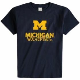 Two Feet Ahead トゥー フィート アヘッド スポーツ用品  Michigan Wolverines Youth Navy Crew Neck T-Shirt