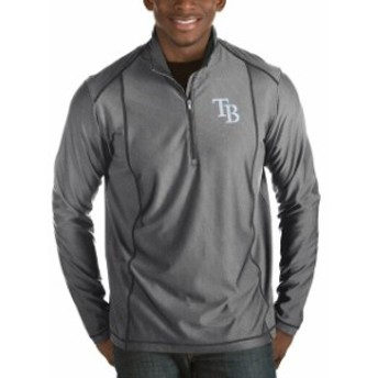 Antigua アンティグア アウターウェア ジャケット/アウター Antigua Tampa Bay Rays Heathered Charcoal Tempo Half-Zip Pullover Jacket