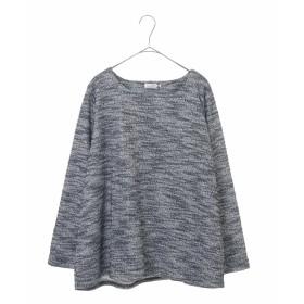 eur3 【大きいサイズ】ラメ入りミックスヤーントップス Tシャツ・カットソー,ネイビー