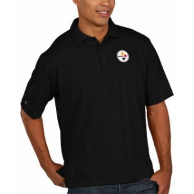 Antigua アンティグア シャツ ポロシャツ Antigua Pittsburgh Steelers Black Pique Xtra Lite Big & Tall Polo