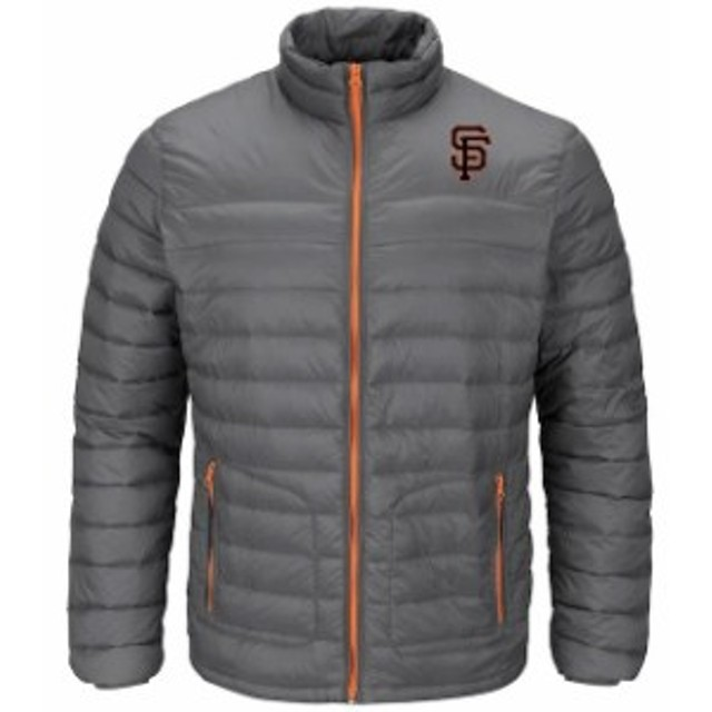 Majestic マジェスティック アウターウェア ジャケット/アウター Majestic San Francisco Giants Gray Train To Win Full-Zip Puff Jacke