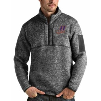 Antigua アンティグア スポーツ用品  Denny Hamlin Antigua Fortune Quarter-Zip Pullover Jacket - Charcoal/Heather Gray