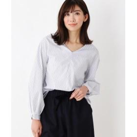 index(インデックス) 【洗える】ブロードストライプ Vネックシャツ