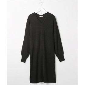 ふんわりカシミヤタッチ♪ 両Vネックニットワンピース (ワンピース)Dress, 衣裙, 連衣裙