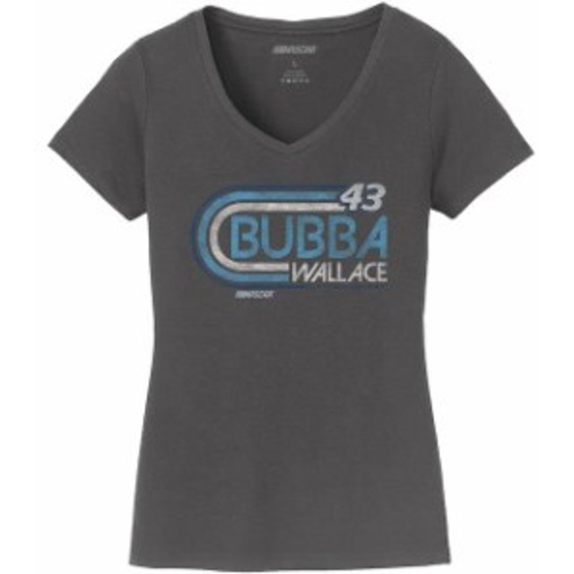 Checkered Flag チェッカード フラッグ スポーツ用品  Checkered Flag Bubba Wallace Womens Charcoal Retro V-Neck T-Shirt