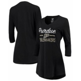 Concepts Sport コンセプト スポーツ スポーツ用品  Concepts Sport Purdue Boilermakers Womens Black Duo V-Neck 3/4-Sleeve Nightshir