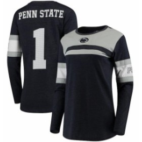 Pressbox プレス ボックス スポーツ用品  Pressbox Penn State Nittany Lions Womens Navy La Salle Crew Long Sleeve Number T-Shirt