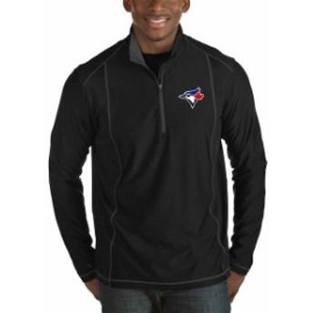 Antigua アンティグア アウターウェア ジャケット/アウター Antigua Toronto Blue Jays Black Tempo Big & Tall Half-Zip Pullover Jacke