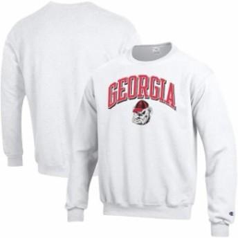 Champion チャンピオン スポーツ用品  Champion Georgia Bulldogs White Arch Over Logo Powerblend Pullover Sweatshirt