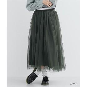 メルロー チュールウエストラインスカート771 3527 レディース カーキ FREE 【merlot】