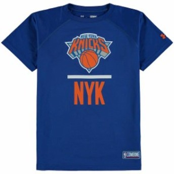 Under Armour アンダー アーマー スポーツ用品  Under Armour New York Knicks Youth Blue Authentic Lock Up Performance T-Shirt