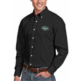 Antigua アンティグア シャツ ポロシャツ Antigua New York Jets Black Dynasty Woven Long Sleeve Button-Down Logo Shirt