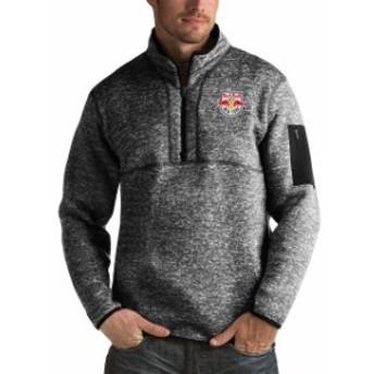Antigua アンティグア スポーツ用品  Antigua New York Red Bulls Heather Black Fortune Quarter-Zip Pullover Jacket