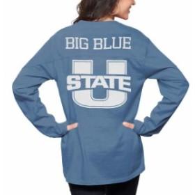 Pressbox プレス ボックス スポーツ用品  Pressbox Utah State Aggies Womens Navy The Big Shirt Oversized Long Sleeve T-Shirt