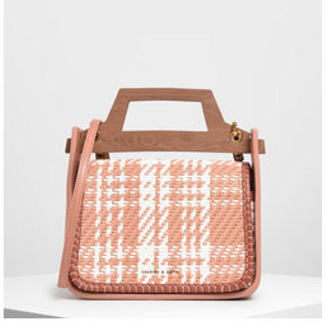 【CHARLES & KEITH:バッグ】【2019 SUMMER】ウーベンウッドエフェクト トップハンドルバッグ / Woven Wood-Effect Top Handle Bag