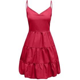 Lazayyii ワンピース ドレス ビーチスカート レディース Vネック 膝丈 無地 セクシー カジュアル (XL, レッド)