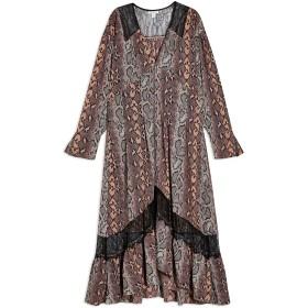 《セール開催中》TOPSHOP レディース 7分丈ワンピース・ドレス ブラック 6 ポリエステル 100% / ナイロン SNAKE PRINT LACE TRIM SMOCK DRESS