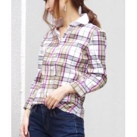 (NARA CAMICIE/ナラカミーチェ)レース襟七分袖チェックシャツ/レディース パープル系