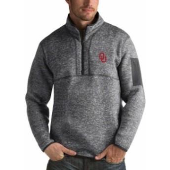 Antigua アンティグア スポーツ用品  Antigua Oklahoma Sooners Heathered Charcoal Fortune 1/2-Zip Pullover Sweater