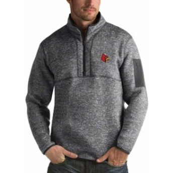 Antigua アンティグア スポーツ用品  Antigua Louisville Cardinals Heathered Charcoal Fortune 1/2-Zip Pullover Sweater
