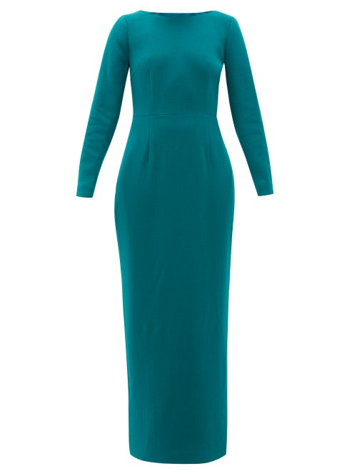 Rebecca De Ravenel - Jamie Scoop-neck Wool-crepe Maxi Dress - Womens - Dark Green