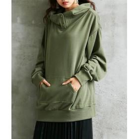 【ゆったりワンサイズ】裏起毛立ち衿デザインゆるっとロング丈プルオーバーパーカー (トレーナー・スウェット)Sweatshirts, 衣, 衛衣