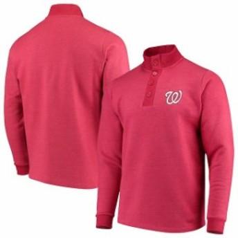 Antigua アンティグア 服 スウェット Antigua Washington Nationals Red Pivotal Button Pullover Sweatshirt