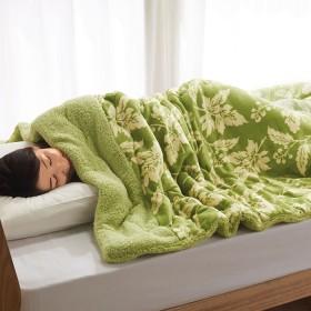 ベルーナインテリア 吸湿発熱わた入り 2枚合わせもこもこ毛布 ベージュ 1
