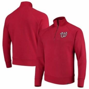 47 フォーティーセブン アウターウェア ジャケット/アウター 47 Washington Nationals Red MLB Headline Quarter-Zip Pullover Jacket