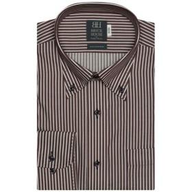 [マルイ] 形態安定 ノーアイロン 長袖ワイシャツ ボタンダウン エンジ×白ストライプ 標準体/ブリックハウス(BRICKHOUSE)