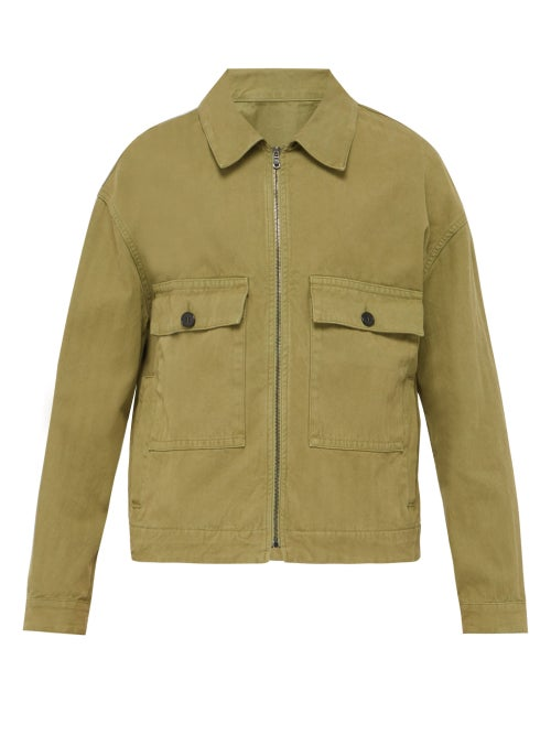 Raey - Boxy Herringbone-denim Jacket - Mens - Khaki