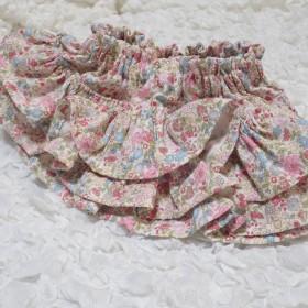 ダブルガーゼ ベビーパンツ ベビーブルマ バック3段フリル 花柄 ピンク
