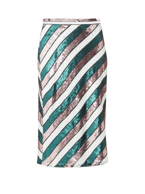Diane Von Furstenberg - Sequin-striped Bias-cut Skirt - Womens - Green Multi