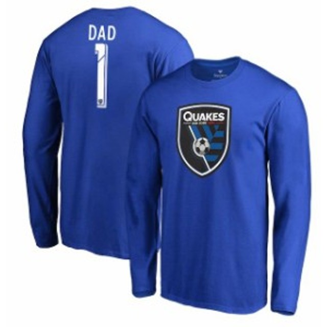 Fanatics Branded ファナティクス ブランド スポーツ用品  Fanatics Branded San Jose Earthquakes Blue #1 Dad Long Sleeve T-Shirt